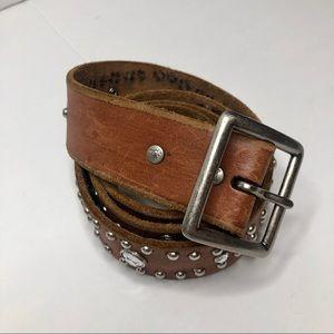 AEO Brown Leather and Rhinestone Studded Belt